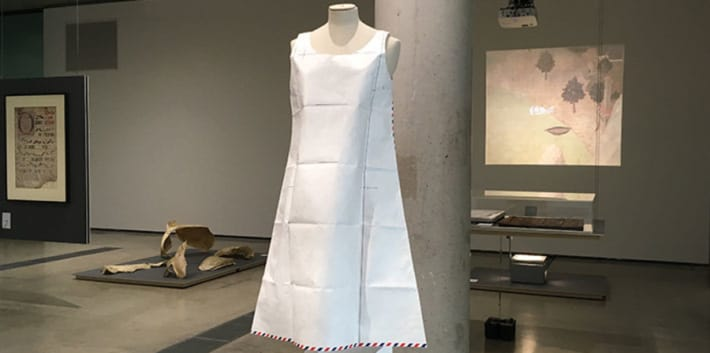Paper dress by Hussein Chalayan on display in the Lethaby Gallery