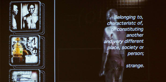 A film still taken from the exhibition Ghosts: Keith Piper and Roshini Kempadoo