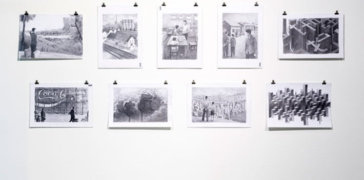 A series of black and white illustrations on display in the Lethaby Gallery
