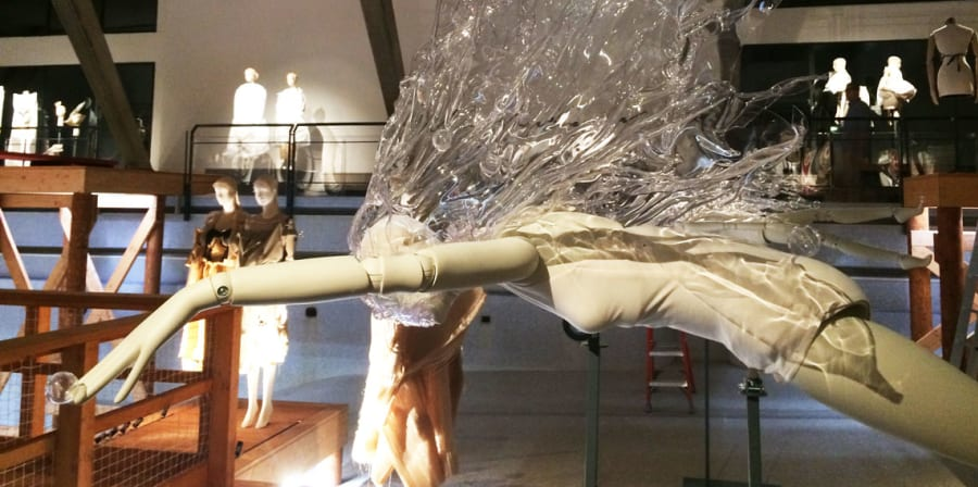 Mannequin diving complete with plastic splash effect