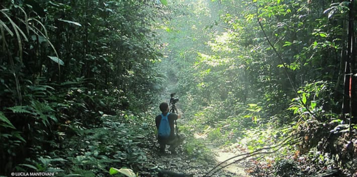 Photograph of a man crouching in the Amazon Rainforest holding a camera tripod