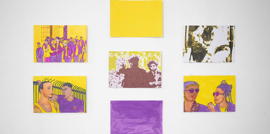 A series of seven images painted by Marie-Solange are fixed to the wall.