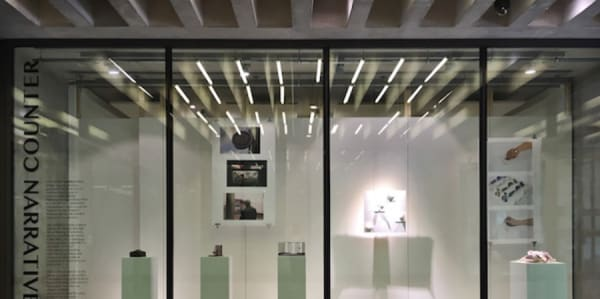 Work on display on plinths inside a Window Gallery