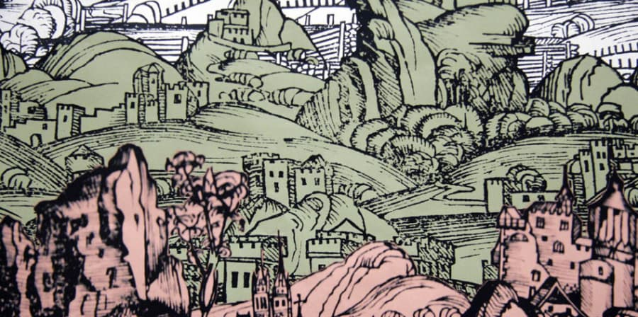 Drawing of hills with buildings and churches coloured green and pink
