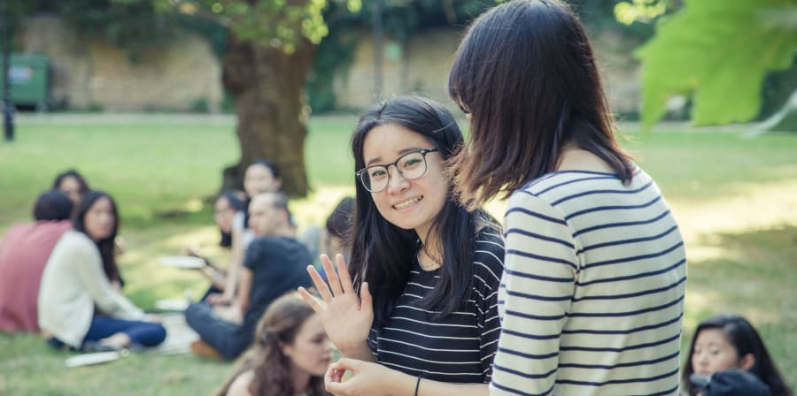 UAL students in the park in the summer