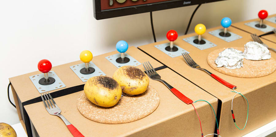 Kelly's project uses potatoes and cutlery as functional games controllers