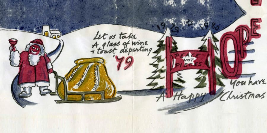 illustration of polar bear at north pole with happy christmas message