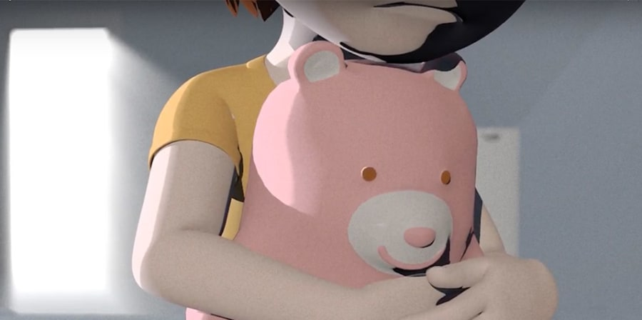 A child's figure cradles a pink teddy bear.