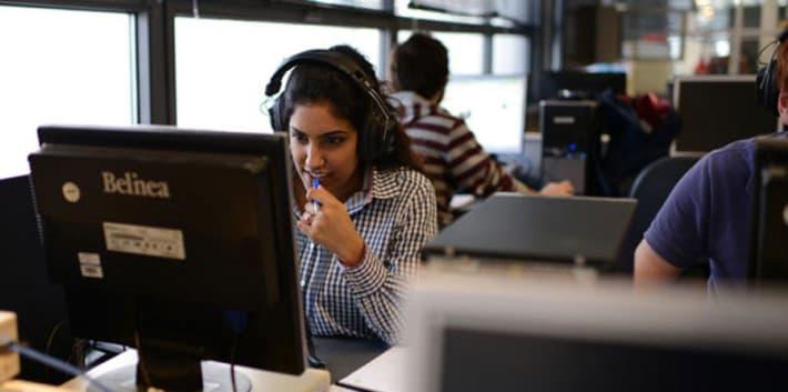 Girl using PC