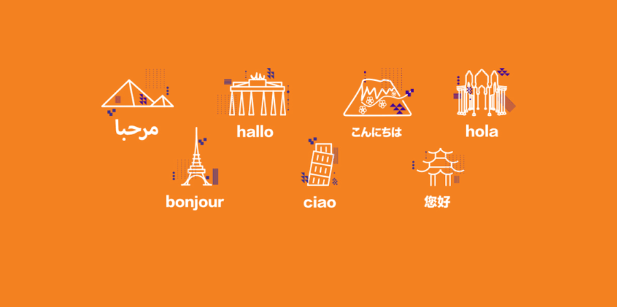 UAL modern languages homepage banner with images of geographical landmarks and 'hello' in seven languages