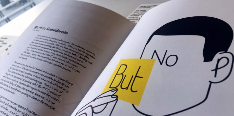Interior pages from the Terrible People zine which depict an illustration of a faceless head holding up post-it notes reading 'But' and 'No'.