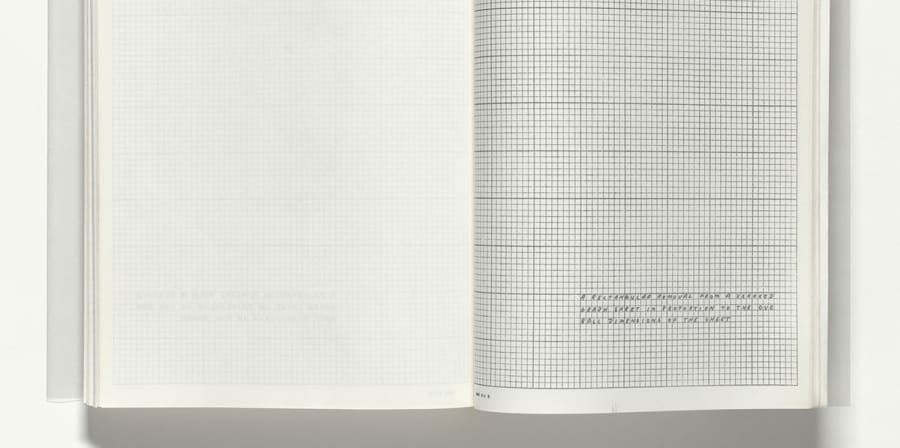A grid graphic created by Lawrence Weiner for The Xerox Book.