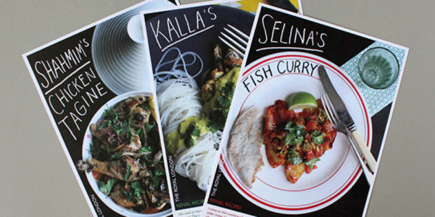 Recipe cards with food photos on them