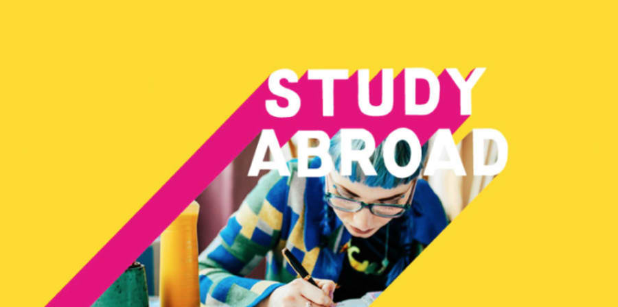 Colourful graphic with Apply to Study Abroad text