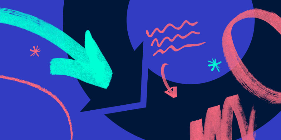 A series of pastel and neon shapes, arrows and squiggles on a purple background