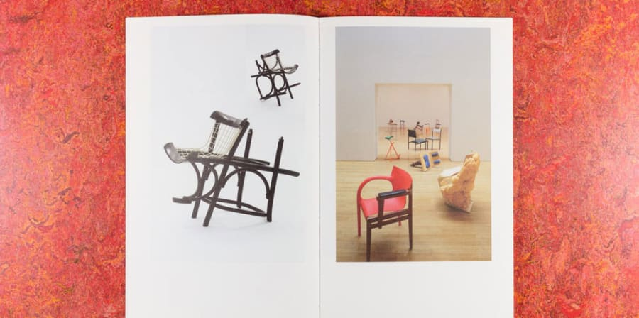 Photographs of chairs developed by artist Martino Gamper.