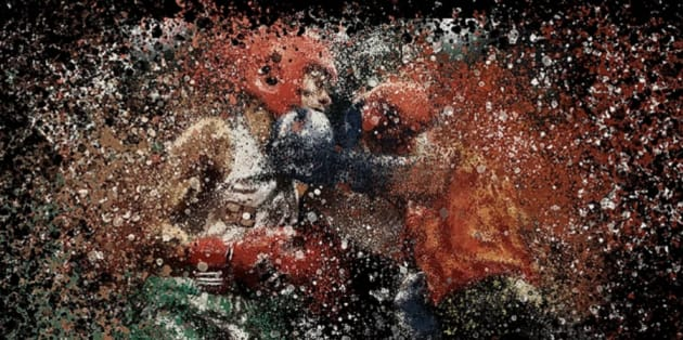 Artwork of two boxers inspired by the flipside words strength and weakness.