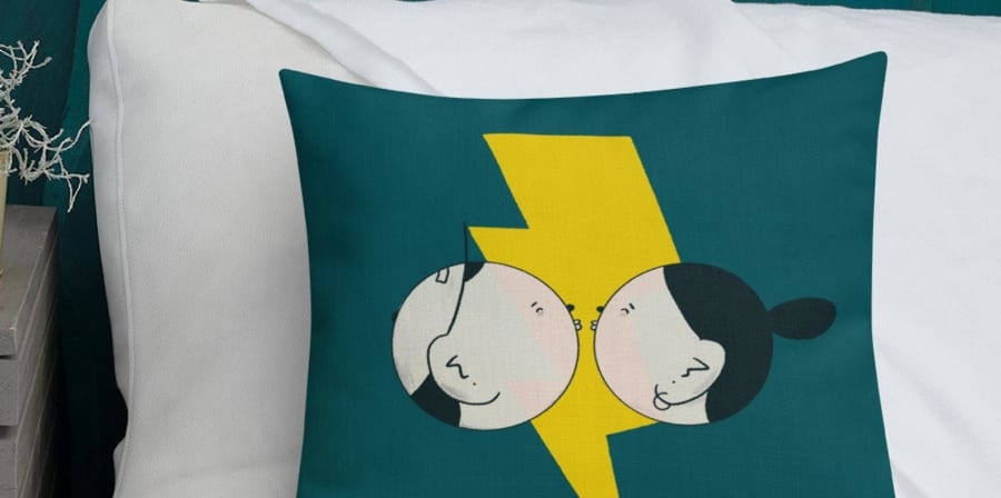 Electric Pop Art Pillow- green:teal throw pillow, perfect for a bench cushion or long distance anniversary gift.jpg