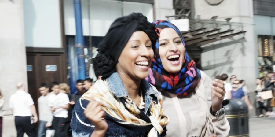 Cover image for Reina Lewis' book showing two Muslim women