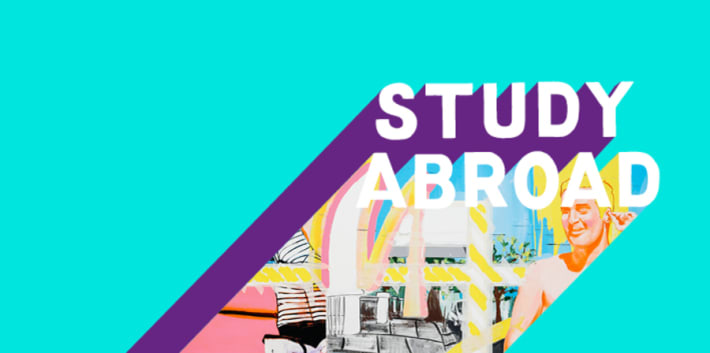 Turquoise graphic with Study Abroad written across it