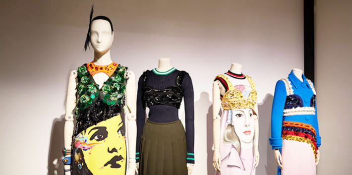 4 mannequins displaying fashion in The Vulgar exhibition