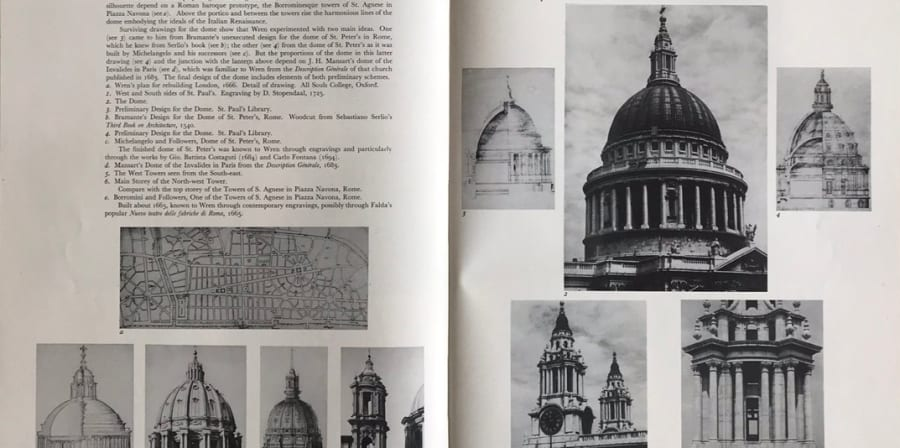 A scan of a book with images of St Paul's cathedral