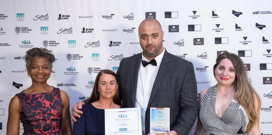 Ballers Academy manager Jamie accepting an award for Contribution to the Community at Southwark Business Excellence Awards 2019