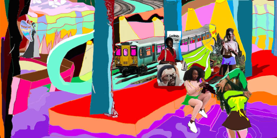 Artwork by Liana Ambrose-Murray of a collage of children playing and a subway train