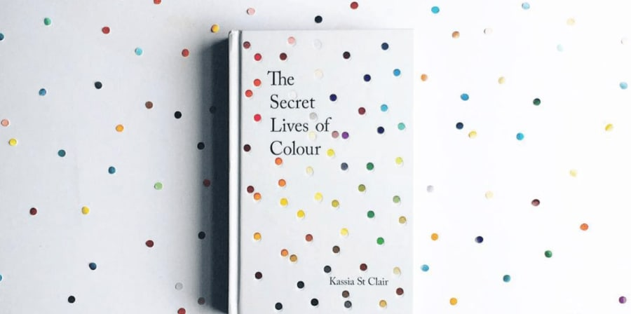 The Secret Lives of Colour book jacket features dots of paint on a white background.