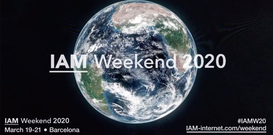 A promotional image for IAM Weekend 2020 featuring a globe.