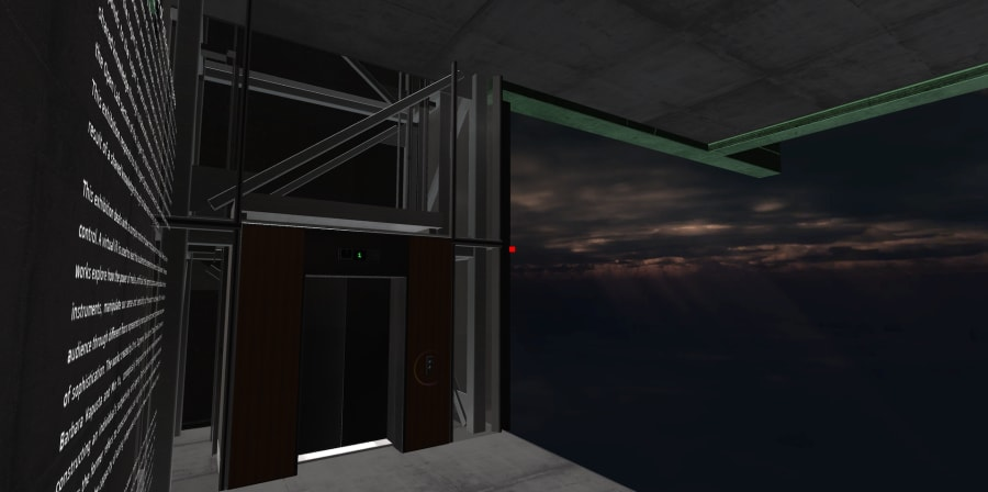 virtual image of View of the lift, entrance to exhibition Onswitchedoff