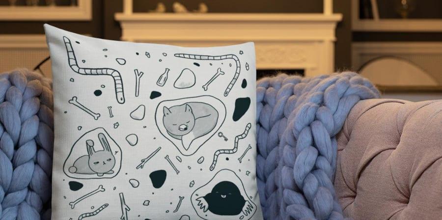Underground explorers nature pillow- rabbit, mole and fox cushion perfect for a little explorer.jpg