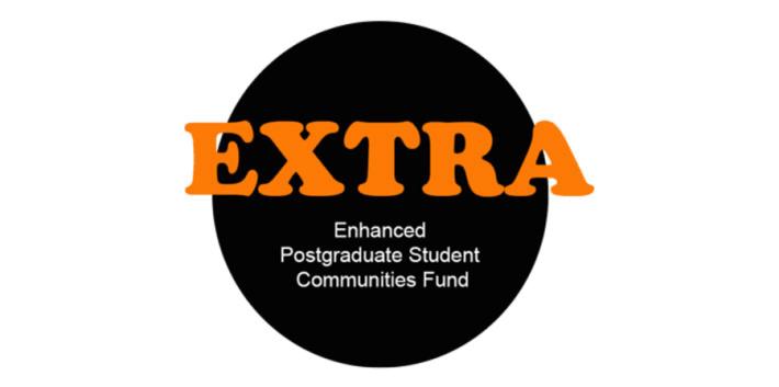 Black circle on white background with EXTRA Enhanced Funding Award written in orange and white text