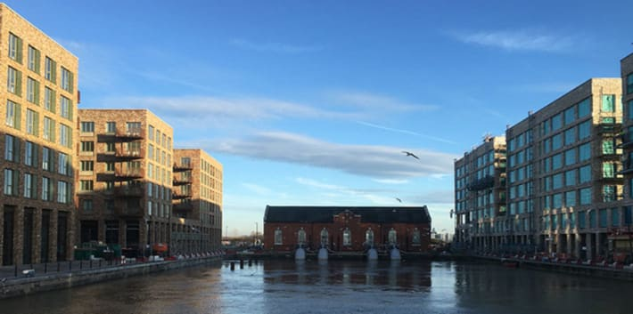 A photo of the RAW lab on the water at the Royal Albert Wharf