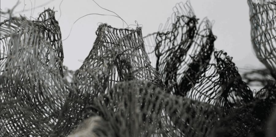 Photograph of meshed fabric creating a dystopian-looking environment.