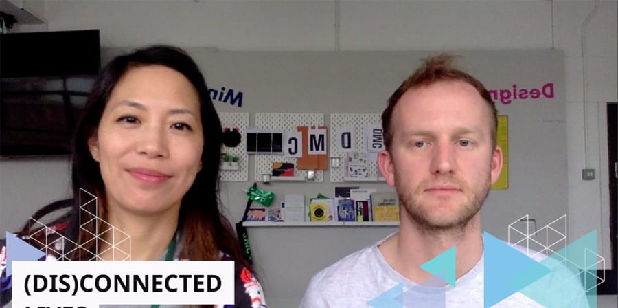A screencap of Mo-Ling Chui and Oliver Rawlings-Conner presenting at IAM Weekend 2020.