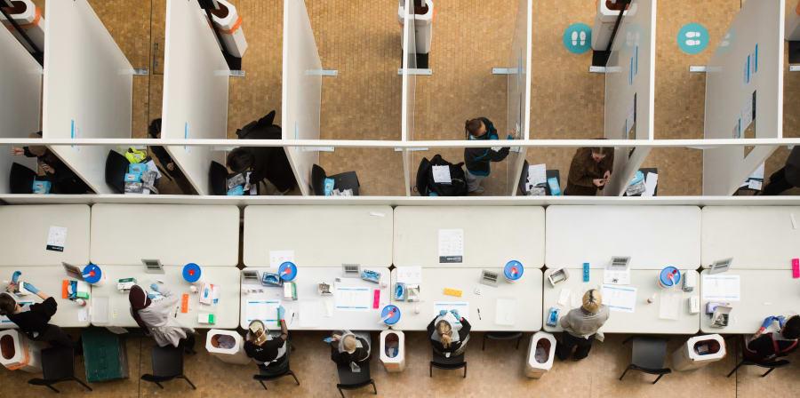 UAL COVID-19 asymptomatic testing centre. Photo: Max Colson