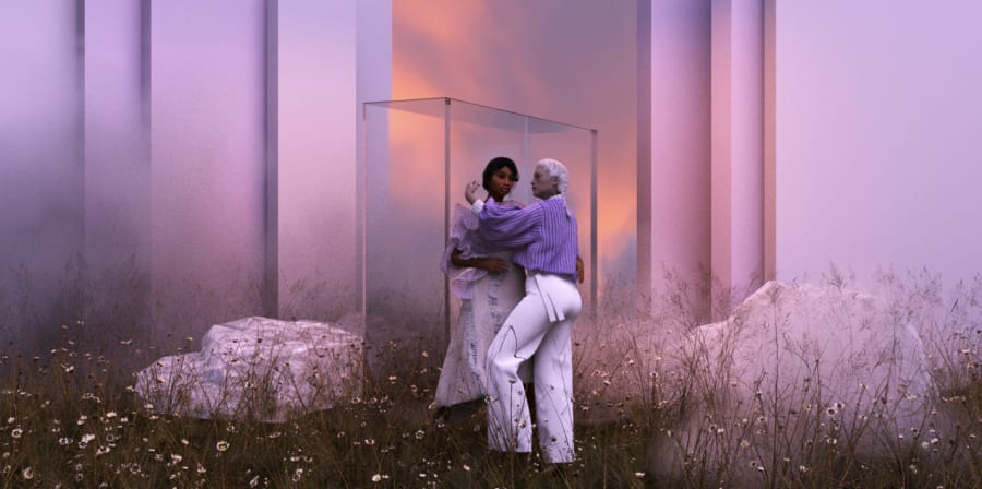 Digitally created scene showing two women in a glass box surrounded by flowers