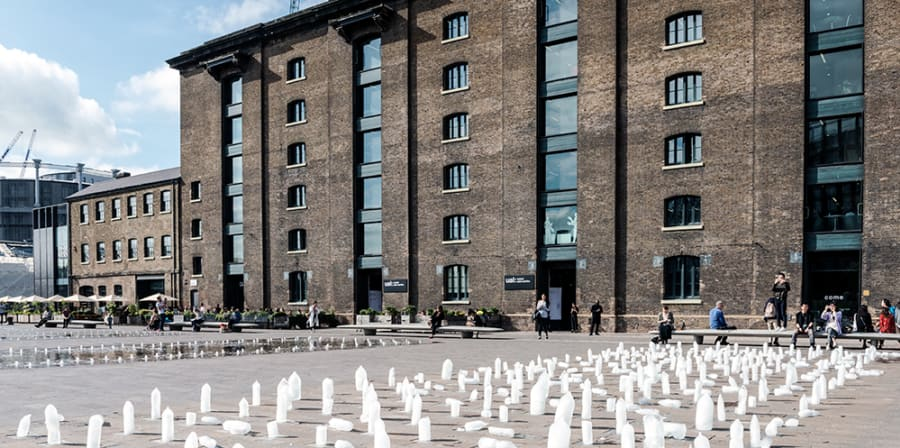 Public installation with plastic bottles in exterior
