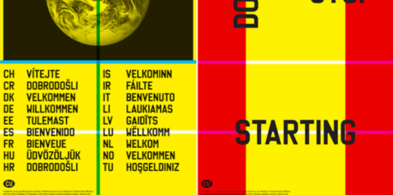 Yellow and red poster with German text on it