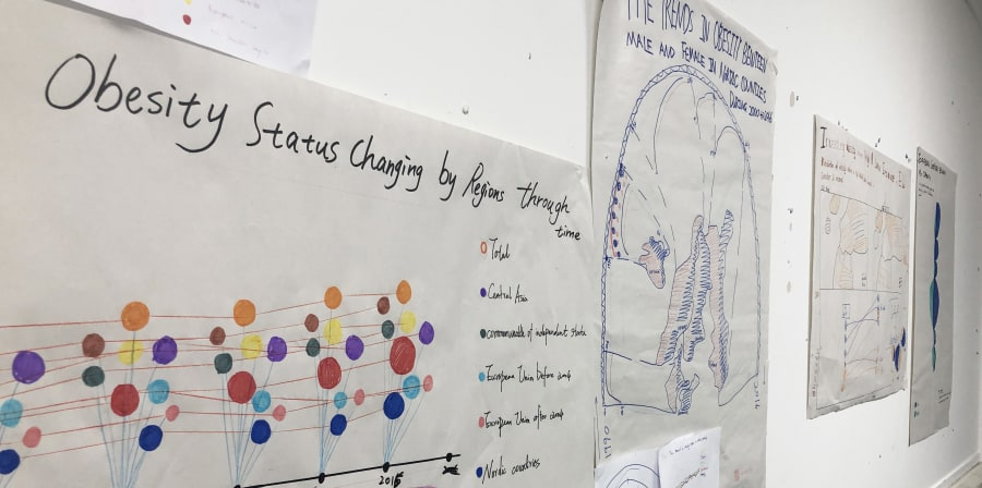 Examples of work by Data Visualisation students in collaboration with Beyond Words Studio, hung upon the wall