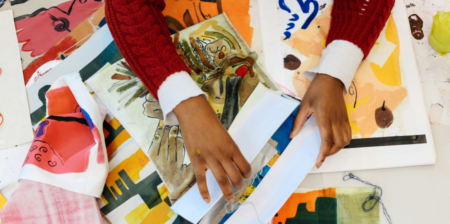 Student's handling work from textiles portfolio