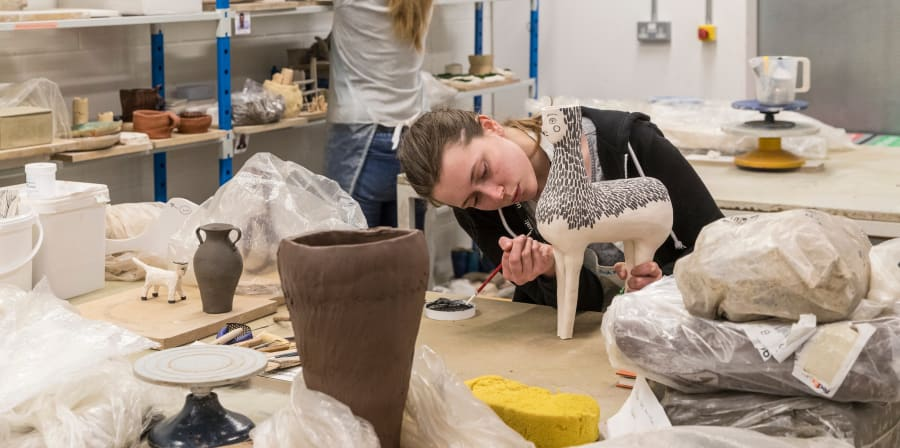 Students in the ceramics workshop