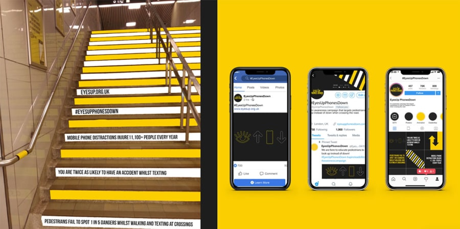 Black and yellow concept art for Tube staircases and social media.