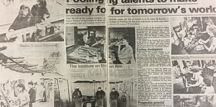 A black and white news paper clipping which shows students working in different studios