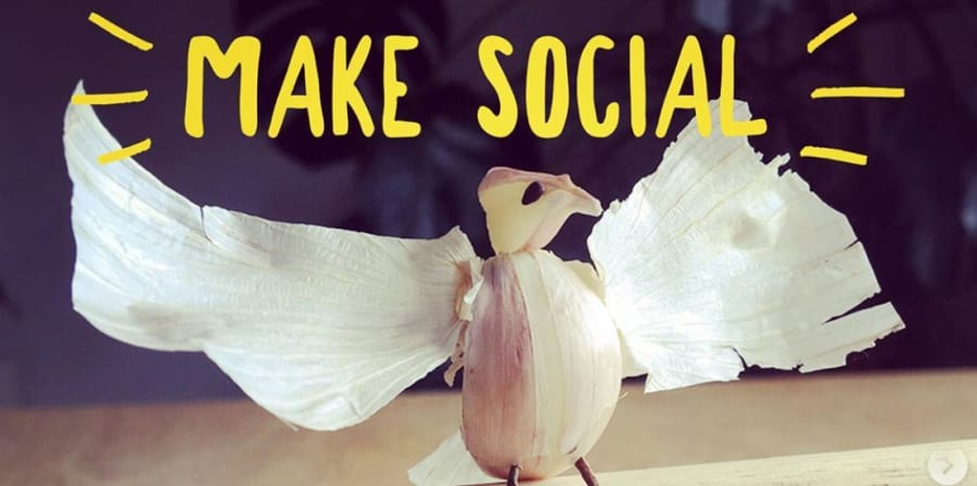 Bird created from food scraps for MAKE Social project