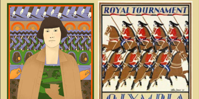 Two illustrations side by side, one of a woman surrounded by illustrations of embroidery and the other shows a group of people wearing traditional clothes, riding horses.