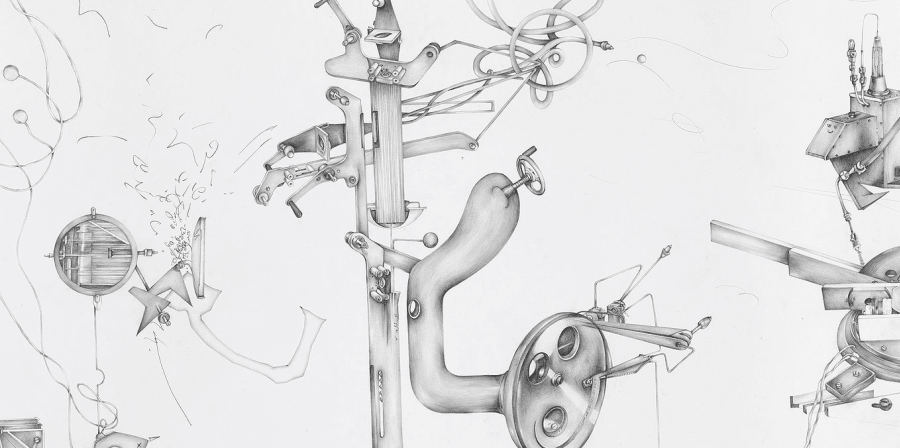 A detail of a pencil drawing of abstract machine parts