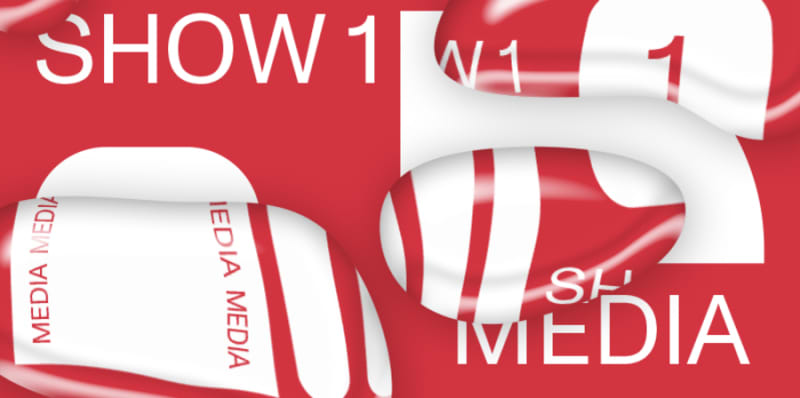 red banner with white text advertising Show 1