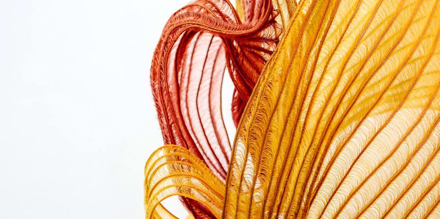 Orange textile against a white background